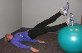 Bridging with Feet on the Ball with Alternating Leg Lifts